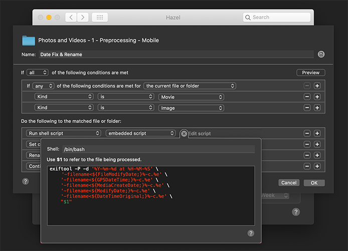 Hazel using ExifTool to add date and time to filename