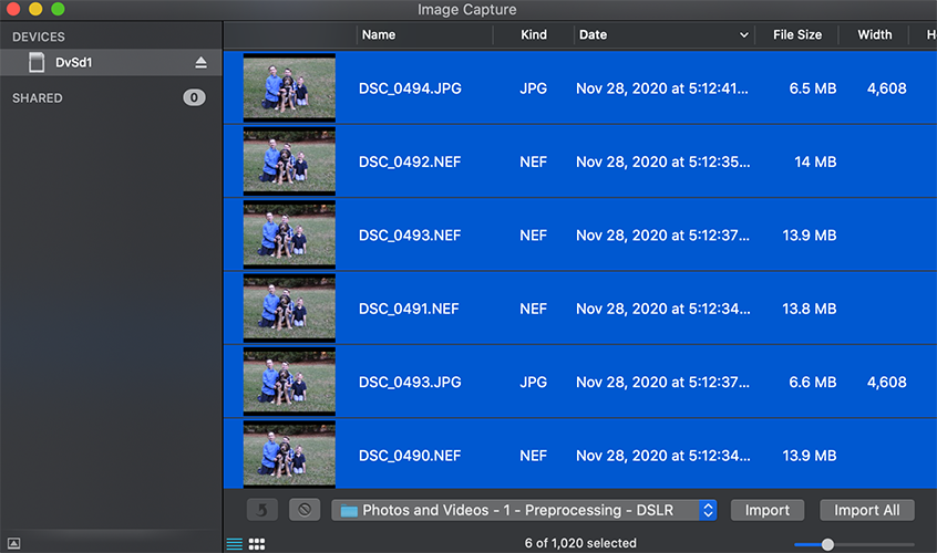 Importing photos from an SD card with Image Capture