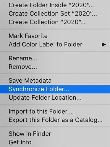 Synchronizing a folder in Lightroom